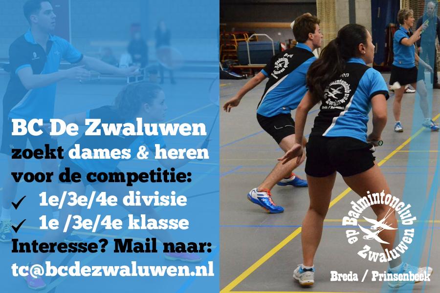 Badminton Breda en Prinsenbeek Noord-Brabant BC de zwaluwen zoekt nieuwe leden