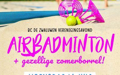 14 juli Airbadminton + zomerborrel!